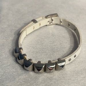 MK White Leather Silver Belt Bracelet